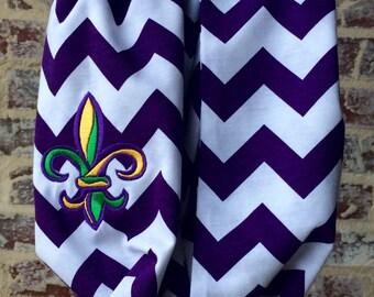Mardi Gras Scarf/ Parade accessory/ Mardi Gras gift/ Mardi Gras scarf/ fleur de lis scarf/ Louisiana gift/ purple chevron scarf