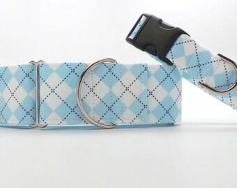 Light Blue Argyle Dog Collar (Martingale, Buckle, or Tag)