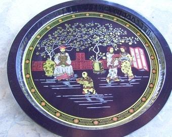 Black Asian Metal Round Tray Serving Geisha Ladies