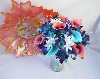 Reeanna's Bridal Bouquet, Coral Purple Calla Lilies, Teal Hydrangeas, Crystals,Teal Purple CA Dendrobium Orchids,Stephanotis