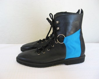 80s Goth Punk O RING Black & Blue Leather Ankle Boots - 7 m Women's shoes