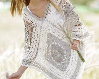 Crochet poncho, summer poncho, crochet wrap,  crochet top, women's clothing, outfit spring-summer, cape in linen and cotton, handmade.