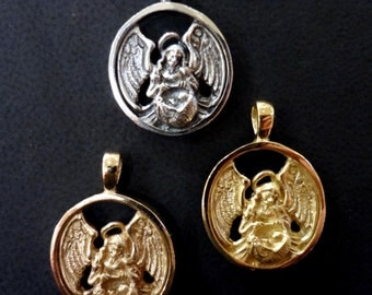 Guardian Angel Pendant of Infants and Children - Handmade in 14k Gold or Sterling Silver