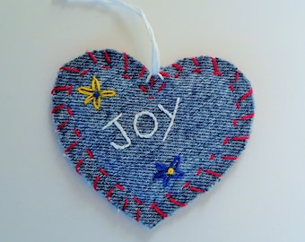 Recycled Denim Embroidered Heart Ornament, JOY, Hang Tag, Gift Tag or Applique