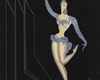 1982 Erte Blue dancer rare  PRINT 1ST EditionMeasures  22 BY 32  Just lowered Price 50 percent