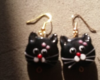 Black Cat Face Earrings