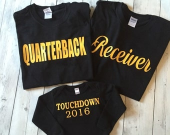 Baby Reveal Tees Dad, Mom, And Baby, Quarterback, Receiver, Touchdown, Football Fans