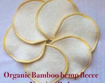 Nursing Pads, Organic Bamboo hemp fleece,Reusable Nursing Pads