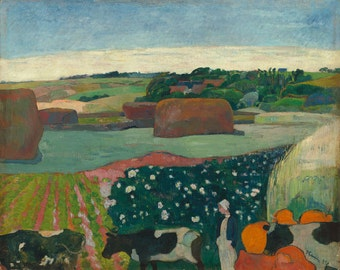 "Paul Gauguin : ""Haystacks in Brittany"" (1890) - Giclee Fine Art Print"