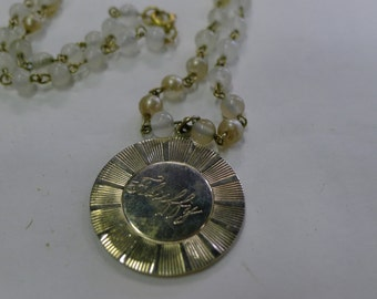"Gold medallion engraved ""Fluffy"" on beaded chain necklace [MV]"