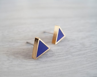 Royal Blue Gold Triangle Stud Earrings - Hypoallergenic Surgical Steel Posts