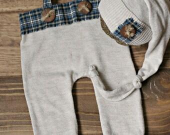 newborn photo prop boy girl romper overalls sleep cap knot hat wooden buttons twine OOAK