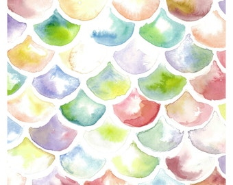 Mermaid scale watercolor painting print (8x10)