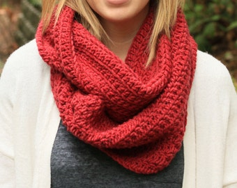 Red crochet infinity scarf, red circle scarf, chunky scarf