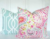 Paisley Pillow Cover - Watercolors - Fuchsia, Pink, Blue, Green - Kaufmann - Throw Pillow - Floral - Decorative Pillow - Toss Pillow