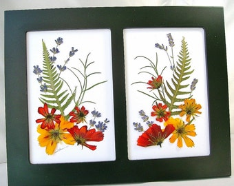 Orange pressed flowers picture, Double woodland scene, Real flowers, Orange cosmos & foliage, Lavender, Green fern, Matte black double frame
