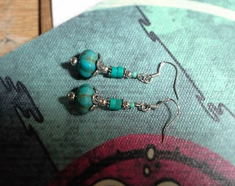 Natural Turquoise, Sterling Silver Drop Earrings.