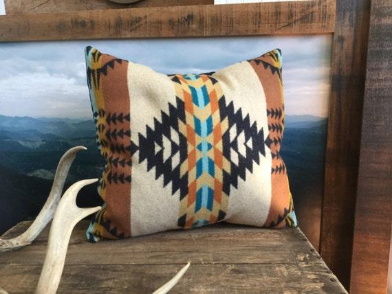 Wool Pillow Cover Tribal Pillow In Pendleton Wool Tan Throw