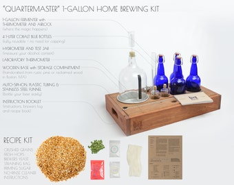 Reclaimed Wood Beer Making Kit for beginners and home brewers - brew your own beer - in style. 1 Gallon Small-batch Brewing Kit with bottles