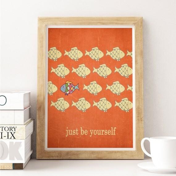 Motivational print, fish decor, digital illustration wall decor quote art digital print wall sign inspirational print giclee print