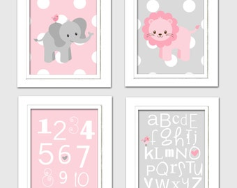 Elephant nursery decorations, pink and gray nursery decor, Elephant Baby shower, Pink and Gray Nursery, Choose your colors