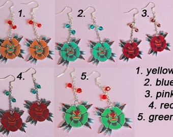 Earrings flower rose tattoo flash art silver plated RVS316L pinup rockabella style 50s shrink plastic, girlfriend, mother, gift, hippy boho