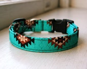 Teal Tribal Dog Collar, Southwest Dog Collar, Designer Dog Collar, Pet Accessories, Turquoise Adjustable Dog Collar, Plastic Nickel Brass