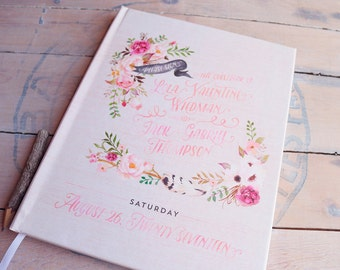 "Floral Wedding Guest Book - Custom Watercolor Wedding Guestbook - Boho Guestbook - Personalized Guestbook - 8"" x 10"""