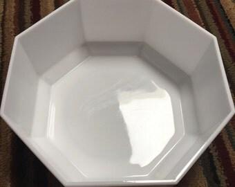 Vintage Octime Arcopal Glass Serving Fruit Bowl Milk Glass Octagonal Made in France