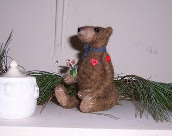 Needle felted jointed Teddy Bear with mini Honey Pot