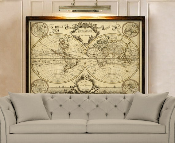 1720 Old World Map Restoration Hardware Style World Map Guillaume de L'Isle mappe monde Wall Map