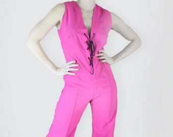 Laced Front Hot Pink 1970s Playsuit