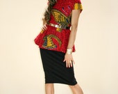 African Print Peplum Top