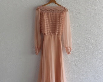 1960s Vintage Blush Dress/1960s Vintage Miss Elliette Dress