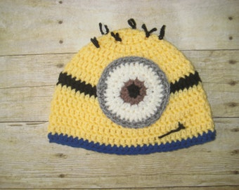 One eyed minion inspired beanie, minion hat, yellow and blue hat