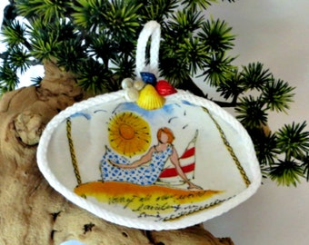 Clam shell ornament_Relaxed Lady at the beach_decoupage seashell ornament
