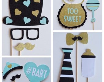 Gender Reveal Baby Shower Photo Booth Prop Set ; Gender Neutral Photo Props ; Set of 12 Baby Shower Photobooth Props