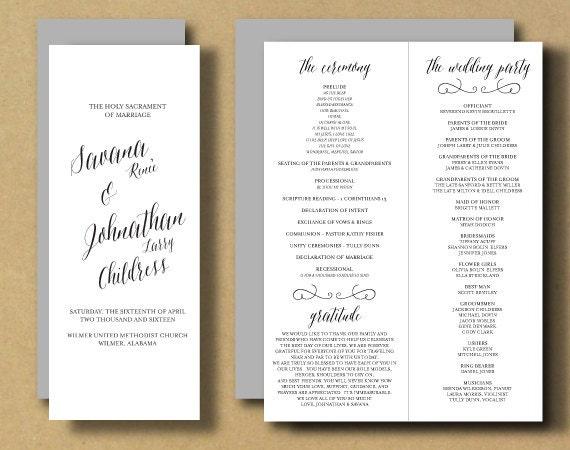 printable wedding program booklet diy ceremony program. Black Bedroom Furniture Sets. Home Design Ideas