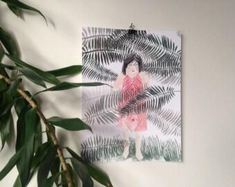 Hidden Girl Plant Print