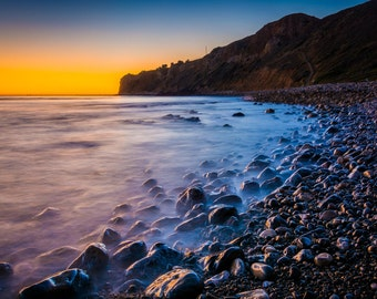 Waves crashing on rocks at sunset,  Pelican Cove, Rancho Palos Verdes, California. | Photo Print, Stretched Canvas, or Metal Print.