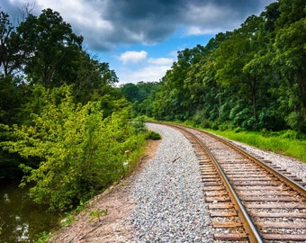 Railroad track in rural Carroll County, Maryland. | Photo Print, Stretched Canvas, or Metal Print.
