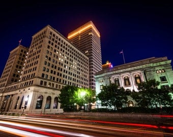 Traffic on Memorial Boulevard and buildings in downtown at night, Providence, Rhode Island. | Photo Print, Stretched Canvas, or Metal Print.