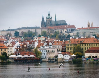 The Vltava and buildings in Malá Strana, in Prague, Czech Republic. | Photo Print, Stretched Canvas, or Metal Print.