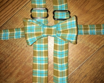 Classic Plaid Print print/teal and tans/Bow tie and Suspenders/Perfect for weddings and ring bearers