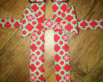 Christmas /Winter/Holiday/print Boys bowtie and Suspender/red and green/great for pictures for cards or Santa -toddler/boy/infant outfit