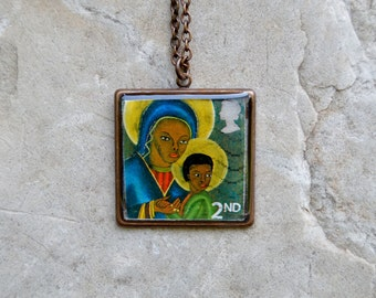 Authentic Canceled Black Madonna and Child Postage Stamp Necklace in a Vintaj Natural Brass Bezel and Jeweler's Grade Resin ~ Haitian artist