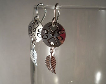 Hand Stamped Silver Earrings with Sterling Silver Ear Wires
