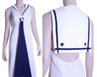 60s 70s ultra mod nautical maxi dress - xs or small