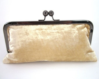 Tan Velvet Clutch Purse with Kiss-Lock Frame, 8-inch
