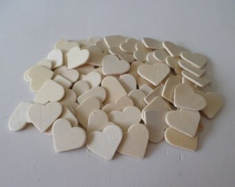 70 Wood hearts, unfinished, ready to paint and decorate, wood crafts, wood shapes, unfinished wood